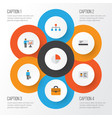 job flat icons set collection of payment vector image vector image