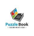 logo design puzzle book vector image