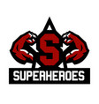 logo superhero muscular arms the letter in the vector image
