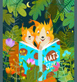 mother squirrel reading book for baby in woods vector image