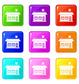 one storey house with two windows icons 9 set vector image vector image