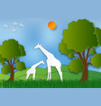 paper art style of landscape with giraffe and vector image