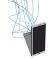 phone with lots wires connected to it vector image