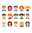 pixel people avatar set vector image vector image
