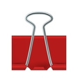 Red binder clip icon realistic style vector image