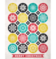 Retro Christmas card with snowflakes and greeting vector image
