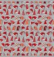 seamless pattern with red christmas santa hats on vector image vector image