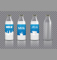 set of realistic glass bottles with milk and vector image vector image