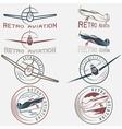 set of vintage labels retro aviaton vector image vector image
