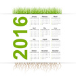 simple calendar 2016 year Grass style vector image vector image