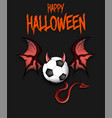 soccer ball with horns wings and devil tail vector image
