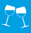two wine glasses icon white vector image vector image