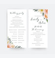 wedding floral watercolor party ceremony program vector image vector image