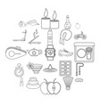 well-being icons set outline style vector image vector image