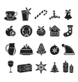 Christmas black silhouette icons set of vector image
