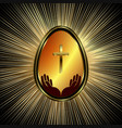 design with easter egg and abstract rays of light vector image
