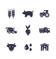 agriculture farming icons isolated on white vector image