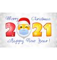 2021 santa emo white snowy bg vector image