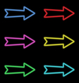 Arrows neon lights on a dark background vector image vector image