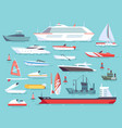 big set of sea boats and little fishing ships vector image vector image