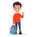 boy is ready for school cartoon character vector image