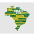 Brazil map with text various sport competition vector image vector image