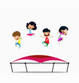cartoon children jumping on trampoline vector image