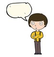 cartoon staring boy with folded arms with speech