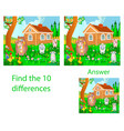 children visual puzzle find ten differences vector image vector image