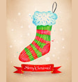 christmas with sock and red ribbon banner vector image vector image