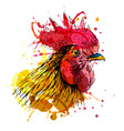 Colored hand sketch rooster head vector image vector image