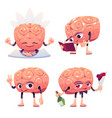 cute brain character in different poses vector image vector image