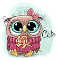 cute cartoon owl with lollipop vector image vector image