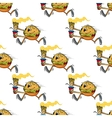 Cute seamless pattern of a running hamburger vector image