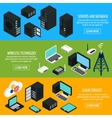 Data Center Isometric Horizontal Banners vector image vector image