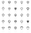 Design shield line icons with reflect on white vector image vector image