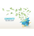 dollar paper currency explosion out box win money vector image vector image