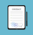 electronic contract on the tablet in flat style vector image vector image