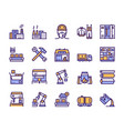 factory color line icon set labor and engineering vector image
