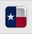 flag state texas usa on square button vector image vector image