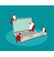 funny little santas over laptop vector image vector image