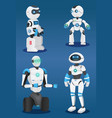 futuristic robots at blue background artificial vector image vector image