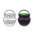 halloween cauldron magic pot with bubbles vector image vector image