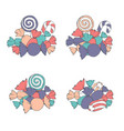 hand drawn set of marshmallows and candies vector image