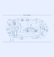 hand holding mobile phone and automobile on city vector image vector image
