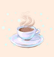 hot white porcelain coffee or tea cup with steam vector image