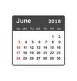 june 2018 calendar calendar planner design vector image