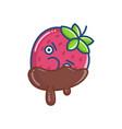 kawaii angry covered chocolate strawberry icon vector image vector image
