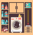 laundry room with washing machine basket and vector image vector image