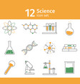 line science icon set chemistry lab equipment vector image